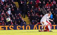 Burnley's Johann Berg Gudmundsson scores his side's second goal <br /> <br /> Photographer Alex Dodd/CameraSport<br /> <br /> The Premier League - Liverpool v Burnley - Sunday 10th March 2019 - Anfield - Liverpool<br /> <br /> World Copyright © 2019 CameraSport. All rights reserved. 43 Linden Ave. Countesthorpe. Leicester. England. LE8 5PG - Tel: +44 (0) 116 277 4147 - admin@camerasport.com - www.camerasport.com