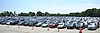 Vehicles fill the main lot of Belmont Park hours before the 150th running of the Belmont Stakes on Saturday, June 9, 2018