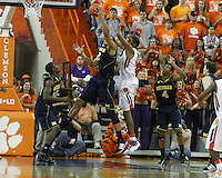 Nov 30, 2010; Clemson, SC, USA; Michigan Wolverines forward Jordan Morgan (52) grabs a rebound in the game against the Clemson Tigers at Littlejohn Coliseum. Mandatory Credit: Daniel Shirey/WM Photo -US PRESSWIRE
