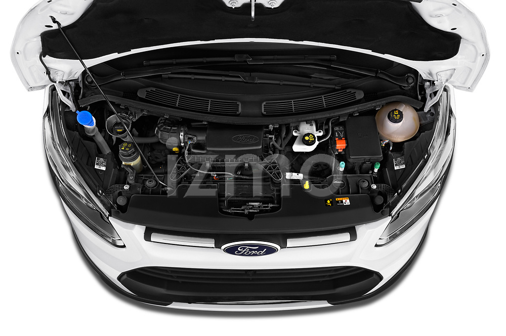Car Stock 2018 Ford Transit-Custom Trend 4 Door Passanger Van Engine  high angle detail view