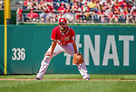 28 September 2014: Washington Nationals infielder Kevin Frandsen in action against the Miami Marlins at Nationals Park in Washington, DC. The Nationals shut out the Marlins 1-0, caping the season with the first Nationals no-hitter in modern times. The win also notched a 96 win season for the Nats: the best record in the National League. Mandatory Credit: Ed Wolfstein Photo *** RAW (NEF) Image File Available ***