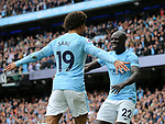 Manchester City's Benjamin Mendy celebrates with goalscorer Leroy Sane during the premier league match at the Etihad Stadium, Manchester. Picture date 9th September 2017. Picture credit should read: David Klein/Sportimage