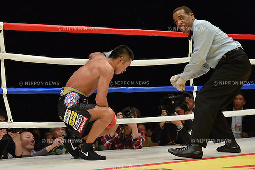 (L-R) Takashi Uchiyama (JPN), Hubert Earle (Referee),<br /> DECEMBER 31, 2013 - Boxing :<br /> Takashi Uchiyama of Japan gets to his feet after being knocked down in the tenth round of the WBA super featherweight title bout at Ota-City General Gymnasium in Tokyo, Japan. (Photo by Hiroaki Yamaguchi/AFLO)