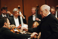 ROSTROPOVICH AND VENGEROV WITH LONDON SYMPHONY ORCHESTRA IN CONCERT IN THE PICTURE MSTISLAV ROSTROPOVICH AND MAXIM VENGEROV DURING THE CONCERT BRESCIA 23/01/2006 PHOTO BY MATTEO BIATTA<br /> <br /> ROSTROPOVICH E VENGEROV CON LA LONDON SYMPHONY ORCHESTRA IN CONCERTO NELLA FOTO MSTISLAV ROSTROPOVICH E MAXIM VENGEROV DURANTE IL CONCERTO BRESCIA 23/01/2006 FOTO MATTEO BIATTA