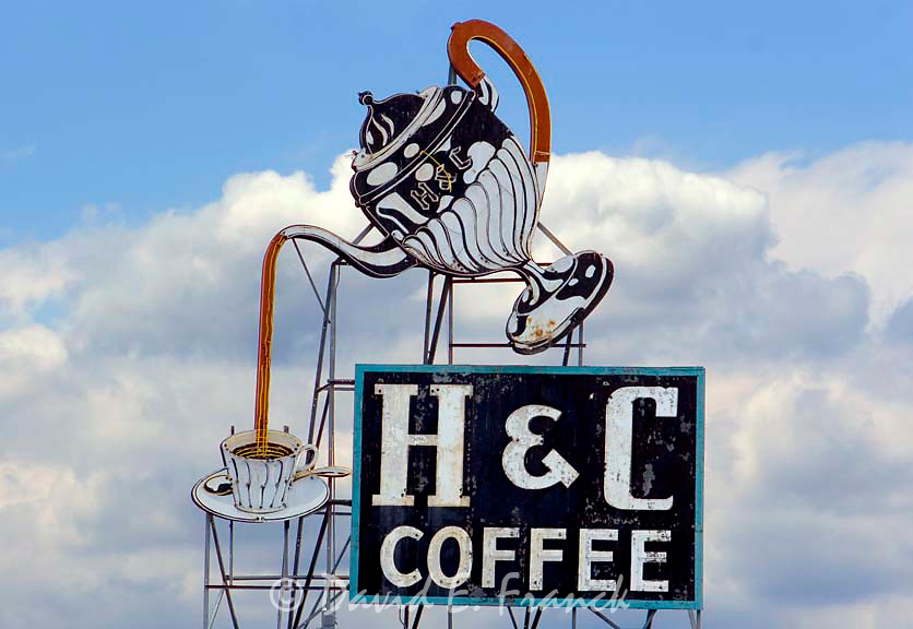 Old H and C Coffee sign overlooking downtown Roanoke, Virginia.