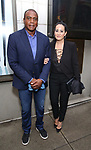 Ahmad Rashad and wife attends the Broadway Opening Night of  'Saint Joan' at the Samuel J. Friedman Theatre on April 25, 2018 in New York City.