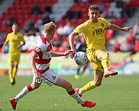Fleetwood Town's Harrison Biggins closes down Doncaster Rovers' Brad Halliday<br /> <br /> Photographer David Shipman/CameraSport<br /> <br /> The EFL Sky Bet League One - Doncaster Rovers v Fleetwood Town - Saturday 17th August 2019  - Keepmoat Stadium - Doncaster<br /> <br /> World Copyright © 2019 CameraSport. All rights reserved. 43 Linden Ave. Countesthorpe. Leicester. England. LE8 5PG - Tel: +44 (0) 116 277 4147 - admin@camerasport.com - www.camerasport.com
