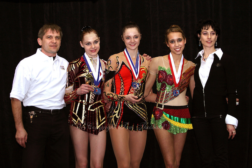Winners pose with tournament organizers (L-R) Igor Scherba, Galina Shyrkina of Ukraine (2nd), Anna Bessonova of Ukraine (1st), Brenann Stacker of USA (3rd), Svetlana Scherba at San Francisco Invitational on February 11, 2006. (Photo by Tom Theobald)