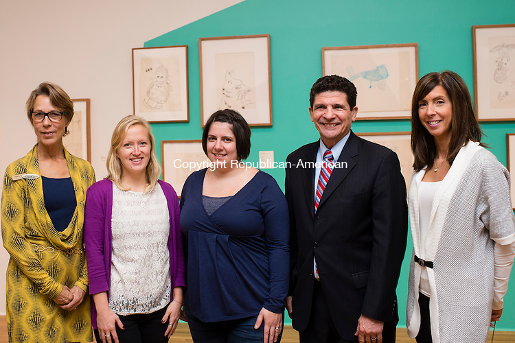 WATERBURY, CT- 20 November 2015-112015EC12-  Social Moments. The Mattatuck Museum in Waterbury hosted an opening for several art exhibitions spanning each floor of the building. From L to R: Artist Valerie Rodgers, Chelsea Ambrozaitis with the YMCA, Stacy Stevens and Dave Sfara, Laurie Porzio, both Mattatuck board members. Erin Covey Republican-American