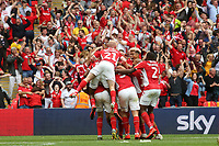 Charlton players congratulate Patrick Bauer after scoring their second goal during Charlton Athletic vs Sunderland AFC, Sky Bet EFL League 1 Play-Off Final Football at Wembley Stadium on 26th May 2019