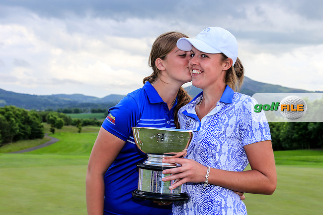 Megan MacLaren and sister with the trophy after Sunday Singles matches at the 2016 Curtis cup from Dun Laoghaire Golf Club, Ballyman Rd, Enniskerry, Co. Wicklow, Ireland. 12/06/2016.<br /> Picture Fran Caffrey / Golffile.ie<br /> <br /> All photo usage must carry mandatory copyright credit (&copy; Golffile | Fran Caffrey)