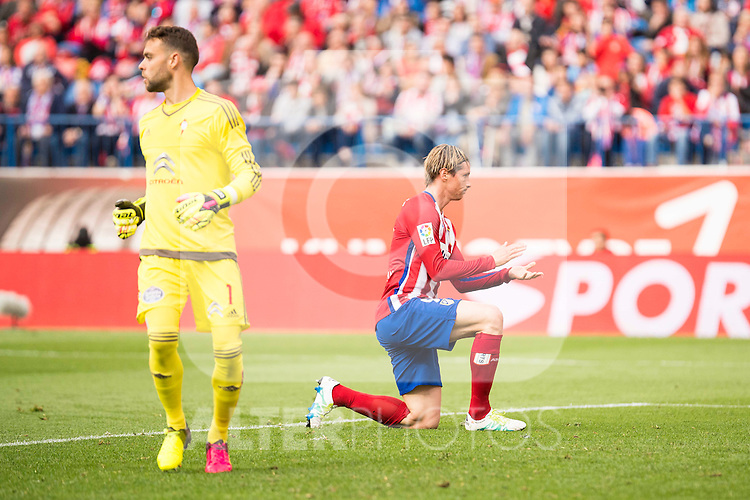 Atletico de Madrid's Fernando Torres and Celta de Vigo's Sergio during La Liga Match at Vicente Calderon Stadium in Madrid. May 14, 2016. (ALTERPHOTOS/BorjaB.Hojas)