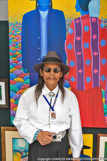 The annual Indian Market, held on the plaza each August in Santa Fe, is the single largest Native American art event in the world. Multimedia artist W.B.Franklin brought some large paintings from Flagstaff, Azrizona.