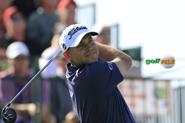 Bill Haas (USA) tees off the 1st tee to start his match during Sunday's Final Round of the Waste Management Phoenix Open 2018 held on the TPC Scottsdale Stadium Course, Scottsdale, Arizona, USA. 4th February 2018.<br /> Picture: Eoin Clarke | Golffile<br /> <br /> <br /> All photos usage must carry mandatory copyright credit (&copy; Golffile | Eoin Clarke)