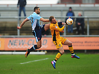 Blackpool's Colin Daniel under pressure from Newport County's Sean Rigg<br /> <br /> Photographer Kevin Barnes/CameraSport<br /> <br /> The EFL Sky Bet League Two - Saturday 18th March 2017 - Newport County v Blackpool - Rodney Parade - Newport<br /> <br /> World Copyright &copy; 2017 CameraSport. All rights reserved. 43 Linden Ave. Countesthorpe. Leicester. England. LE8 5PG - Tel: +44 (0) 116 277 4147 - admin@camerasport.com - www.camerasport.com