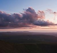 View west across Brecon Beacons from summit of Pen Y Fan, Wales