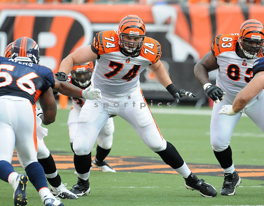 DENNIS ROLAND, of the Cincinnati Bengals in action during the Bengals game against the Denver Broncos    at Paul Brown Stadium in Cincinnati, OH.  on August 20, 2010.  The Bengals beat the Broncos 22-9 in the second week of preseason games...