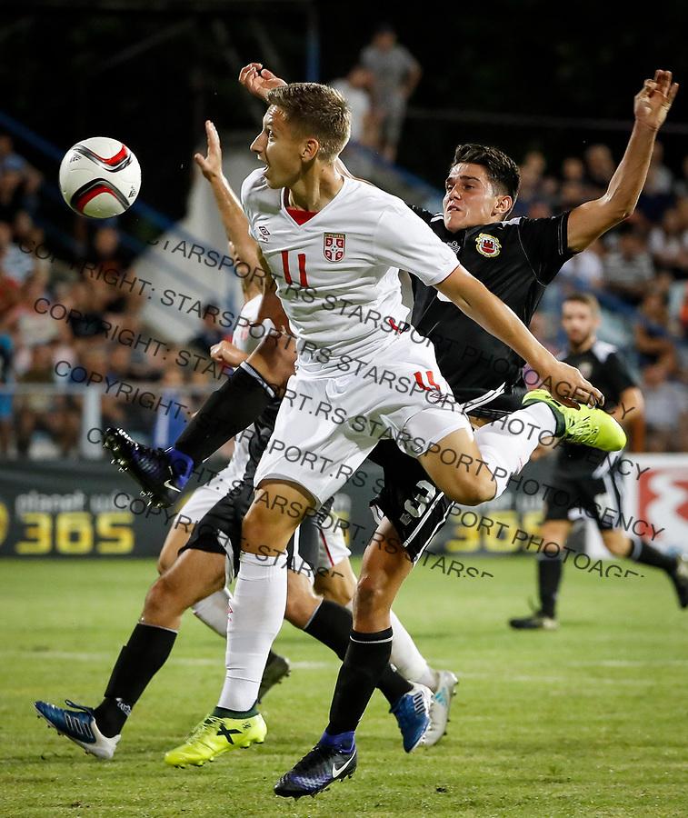 Fudbal Soccer<br /> Reprezentacija Srbije U21<br /> Kvalifikacije za U21 EURO 2019<br /> Srbija U21 v Gibraltar U21<br /> Ivan Saponjic (L) and Liam Crisp<br /> Jagodina, 09.01.2017.<br /> foto: Srdjan Stevanovic/Starsportphoto &copy;