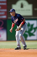 Second baseman Niuman Romero (31) of the Kinston Indians on defense versus the Winston-Salem Warthogs at Ernie Shore Field in Winston-Salem, NC, Saturday, May 17, 2008.