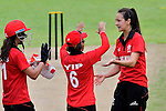 Mark Tabitha Hill (r) of Hong Kong celebrates with teammates Natural Yip Sze wan (c) and Jenefer Davies during the ICC 2016 Women's World Cup Asia Qualifier match between  Hong Kong and Nepal on 09 October 2016 at the Tin Kwong Road Cricket Recreation Ground in Hong Kong, China. Photo by Marcio Machado / Power Sport Images