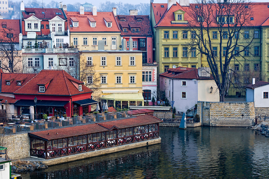 View of the city of Prague fronting the Vltava River. Prague is the capital city of the Czech Republic and one the most touristic destinations in Europe.