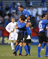 22 May 2004: Earthquakes Ramiro Corrales celebrates with the team after Brian Mullan scores a goal against Los Angeles Galaxy at Spartan Stadium in San Jose, California.   Earthquakes defeated Galaxy 4-2. Mandatory Credit: Michael Pimentel / ISI