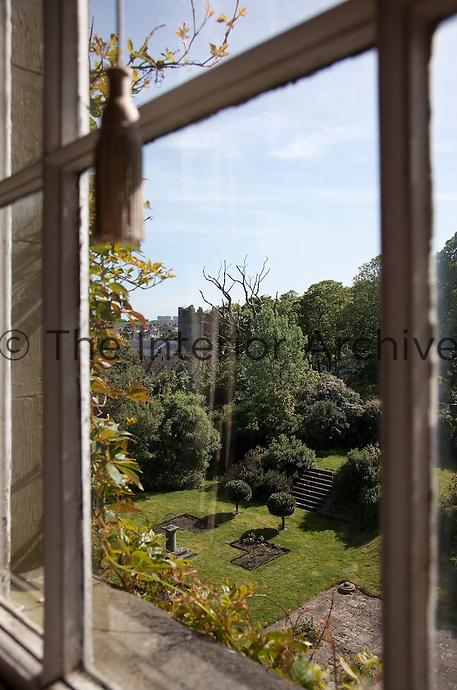 A view across the gardens to a ruined church in the grounds at Birr Castle