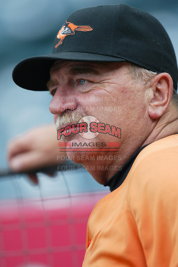 Baltimore Orioles Pitching Coach Leo Mazzone during batting practice before a game from the 2007 season at Angel Stadium in Anaheim, California. (Larry Goren/Four Seam Images)