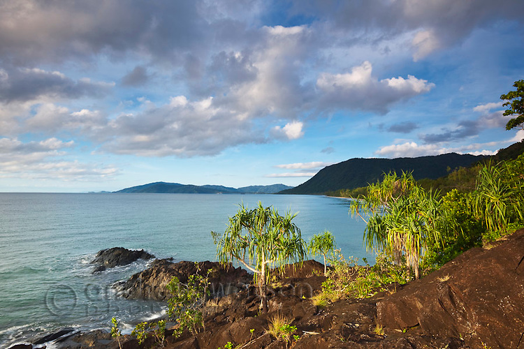 View along Noah Beach at dawn.  Daintree National Park, Queensland, Australia