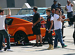 . ....April 21st 2012    Saturday ...Justin Bieber filming his new music video in downtown  Los Angeles. ..Kissing a girl & driving a fash orange mustang gold shoes ..AbilityFilms@yahoo.com.805-427-3519.www.AbilityFilms.com...