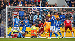 22.09.2019 St Johnstone v Rangers: Murray Davidson thinks his shot has crossed the goal line