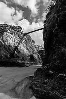 Portrait of the Suspension Bridge to Towan Island, Newquay Beach, Cornwall