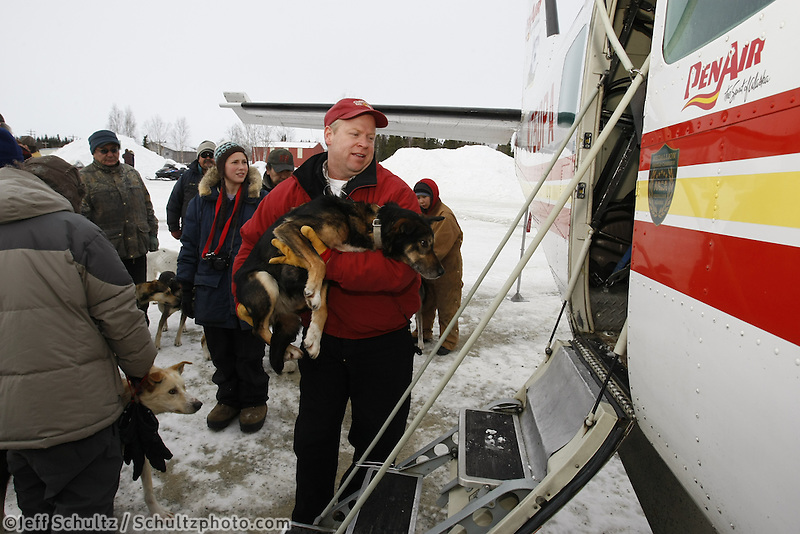 Penair Pilot Kelly Fundeen loads one of 28 dropped dogs at the Nikolai checkpoint into the Cessna Caravan plane to be flown back to Anchorage on Wednesday  Iditarod 2009