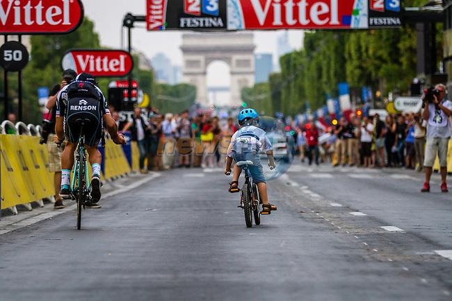 Omega Pharma - Quickstep, Rider parade on the Champs-Élysées, Tour de France, Stage 21: Évry > Paris Champs-Élysées, UCI WorldTour, 2.UWT, Paris Champs-Élysées, France, 27th July 2014, Photo by Thomas van Bracht