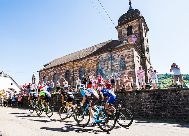 The breakaway pass through Fresse during Stage 5 of the 104th edition of the Tour de France 2017, running 160.5km from Vittel to La Planche des Belles Filles, France. 5th July 2017.<br /> Picture: ASO/Alex Broadway | Cyclefile<br /> <br /> <br /> All photos usage must carry mandatory copyright credit (&copy; Cyclefile | ASO/Alex Broadway)