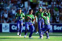Pix:Michael Steele/SWpix...International Cricket. Pakistan v W.Indies, Melbourne, 1997...COPYRIGHT PICTURE>>SIMON WILKINSON..Pakistans Wasim Akram celebrates a wicket.