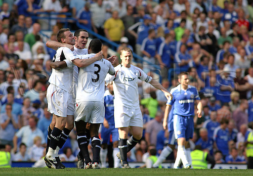 11.05.2008: Chelsea, London England. Bolton players celebrate Matty Taylor's late goal during the final Premier League fixture of the season between Chelsea and Bolton Wanderers played at Stamford Bridge. The game finished 1-1.