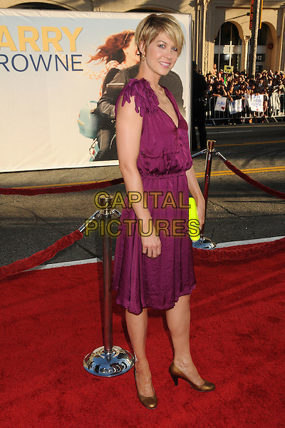 """Jenna Elfman.""""Larry Crowne"""" Los Angeles Premiere held at Grauman's Chinese Theatre.  Hollywood, California, USA..27th June 2011.full length purple dress sleeveless gold bronze shoes clutch jimmy choo neon fluorescent yellow side.CAP/ADM/BP.©Byron Purvis/AdMedia/Capital Pictures."""