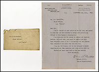 BNPS.co.uk (01202 558833)?Pic: H.Aldridge&amp;Son/BNPS<br /> <br /> A letter from Charles Bartlett, Marine Superintendent of White Star Line dated February 13th 1920 to Charles Lightoller.  The letter confirms receipt of his letter of resignation.<br /> <br /> A menu for the first ever meal served on Titanic has sold for a world record &pound;100,000.<br /> <br /> The incredibly rare postcard-size menu was for lunch on April 2, 1912, which was the first day of the doomed liner's sea trials in the Irish Sea.<br /> <br /> Senior officers, officials from shipbuilders Harland and Wolff and VIPs sat down in the main dining saloon.<br /> <br /> In keeping with the opulent surroundings and the quality of fare to be served to the first class passengers, the small group indulged in only the finest of food.<br /> <br /> There was consumme mirrette and cream of chicken to start, salmon and sweat bread for the fish course, spring lamb, roast chicken and braised ham for mains and pudding sans souci and peaches imperial for desert followed by coffee.