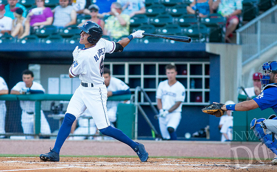 Tulsa Drillers vs NWA Naturals -  Nicky Lopez of the Naturals hits to left field against the Drillers at Arvest Ballpark, Springdale, AR, Thursday, July 13, 2017,  © 2017 David Beach