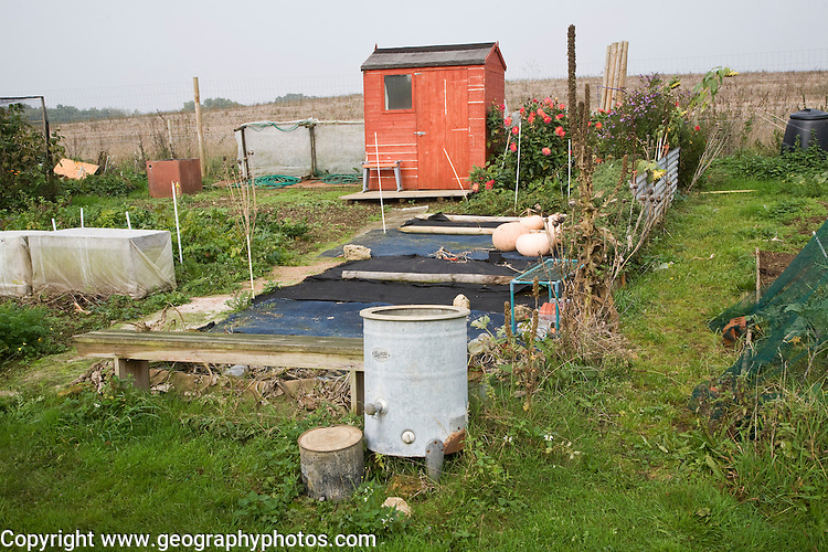 Allotment garden and shed, Shottisham, Suffolk, England