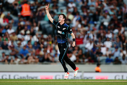 03.02.2016. Auckland, New Zealand.  Adam Milne of New Zealand celebrates the wicket of James Faulkner of Australia. ANZ International Series, 1st Chappell-Hadlee Trophy ODI between New Zealand Back Caps and Australia at Eden Park in Auckland, New Zealand.