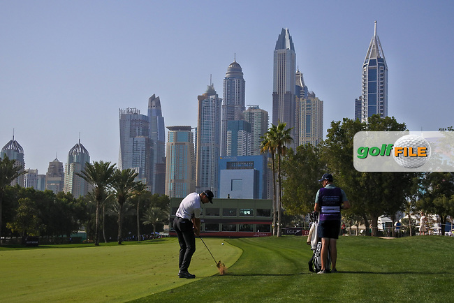 Victor Perez (FRA) on the 16th fairway during Round 4 of the Omega Dubai Desert Classic, Emirates Golf Club, Dubai,  United Arab Emirates. 27/01/2019<br /> Picture: Golffile | Thos Caffrey<br /> <br /> <br /> All photo usage must carry mandatory copyright credit (&copy; Golffile | Thos Caffrey)