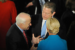 Republican Senator and former Republic presidential nominee John McCain with his wife Cindy McCain speak with former Vice-President Al Gore at the luncheon following Barack Obama's swearing in as the 44th President of the United States at Statuary Hall in the U.S. Capitol in Washington, DC on January 20, 2009.