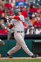 Houston Cougars designated hitter Jacob Lueneburg #42 follows through on his swing during the NCAA baseball game against the Texas Longhorns on March 1, 2014 during the Houston College Classic at Minute Maid Park in Houston, Texas. The Longhorns defeated the Cougars 3-2. (Andrew Woolley/Four Seam Images)