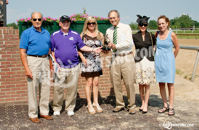 trophy presentation for The Fort Delaware Stakes presented by George Strawbridge to the connections of  Avarice after being put up for the win at Delaware Park on 7/12/14