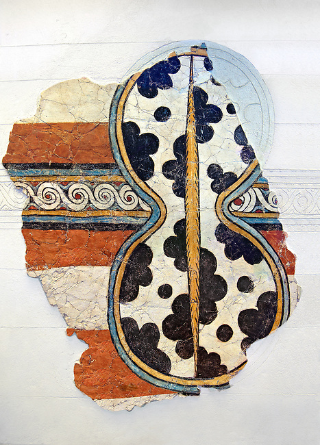 Mycenaean Fresco wall painting of a figure of eight shield. Mycenae Acropolis, Greece,  14th - 13th Century BC. Athens Archaeological Museum.
