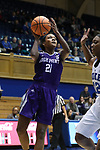 DURHAM, NC - NOVEMBER 16: High Point's Lindsey Edwards (21) and Duke's Mikayla Boykin (right). The Duke University Blue Devils hosted the High Point University Panthers on November 16, 2017 at Cameron Indoor Stadium in Durham, NC in a Division I women's college basketball game. Duke won the game 77-50.