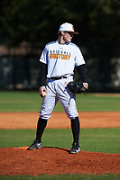 Keegan Allen (13) of Bentonville, Arkansas during the Baseball Factory All-America Pre-Season Rookie Tournament, powered by Under Armour, on January 14, 2018 at Lake Myrtle Sports Complex in Auburndale, Florida.  (Michael Johnson/Four Seam Images)
