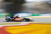 March 14, 2014: Nico Hulkenberg (DEU) from the Sahara Force India F1 Team rounds turn three during practice session one at the 2014 Australian Formula One Grand Prix at Albert Park, Melbourne, Australia. Photo Sydney Low.